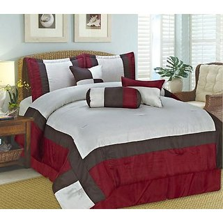 RT Designers Collection Odessa 7-Piece Comforter Set, King, Red