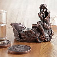Antique Brass Colored Resin Colored Mermaid And Coaster Set