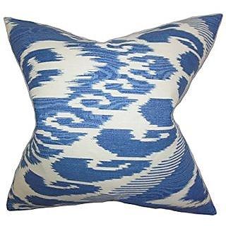 The Pillow Collection P20-PT-VARI-HYACINTH-L100 Fernande Ikat Pillow, Blue, 20