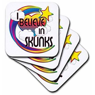 3dRose cst_166875_2 I Believe in Skunks Cute Believer Design Soft Coasters, (Set of 8)