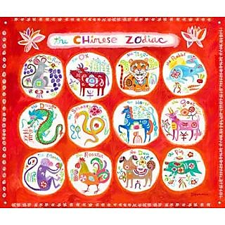Oopsy Daisy Chinese Zodiac by Donna Ingemanson Canvas Wall Murals, 42 by 32-Inch