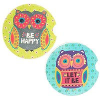 Natural Life Green Floral Owl Motif Car Coasters - Set Of 2