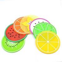 Silicone Coasters Set Of 7 (Colorful),Green Orange Pitaya Kiwi Carambole Watermelon Lemon