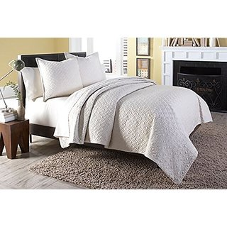 Michael Amini 3 Piece Taylor Coverlet/Duvet Set, Queen, White/Off-White