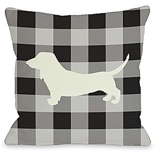 Bentin Home Decor Gingham Silhouette Doxie Throw Pillow by OBC, 18