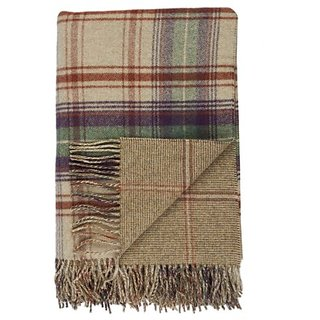 Johnstons of Elgin Teviot Reversible Large Check and Warp Hairline Tweed Lambswool Throw