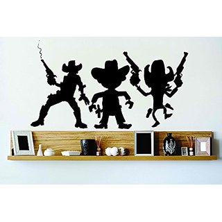 Design with Vinyl Cryst 137 144 Black 3 Cowboys Gang Standing Gun Big Country Western Hat Vinyl Wall Decal Art Home Deco