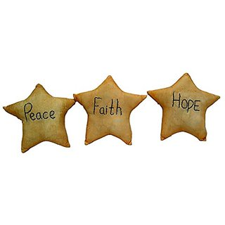 Craft Outlet Fabric Hope/Faith/Peace Star Figurine Set, 5-Inch