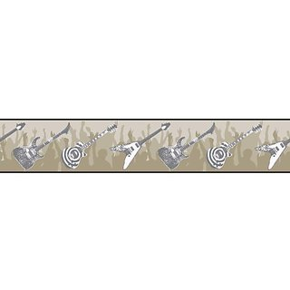 York Wallcoverings ZB3119BSMP Boys Will Be Boys II Guitar 8-Inch x 10-Inch Memo Sample Wallpaper-Borders, Soft Taupe/Dee