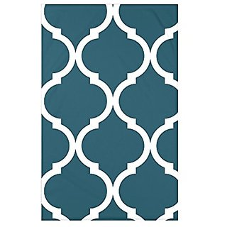 E by Design French Quarter Geometric Print Throw Blanket, 50 X 60-Inch, Deep Sea