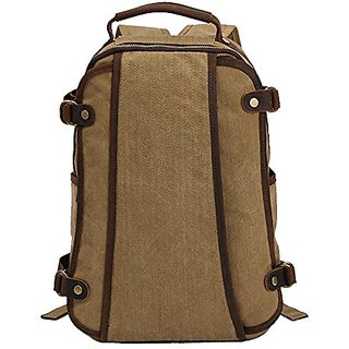 Kaukko Fashion Rucksack Vintage Canvas Backpacks with Laptop Compartments for Outdoor/Hiking/College Apricot