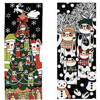 Maneki Neko Tenugui Towel Set of 2(Christmas Ice Monster)1466-1467