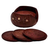 StarZebra Handmade Retro Wood Coaster Set With 6 Round Table Coasters And Decorative Wooden Holder - Table Top Accessori