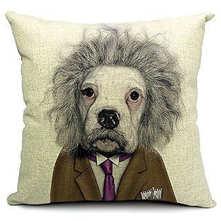 TheOne/4040 Cotton Linen Throw Pillow Case Square Decorative Cushion Cover Dog Star Einstein 18in X 18in