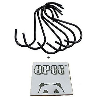 OPCC 20 PCS Black Color Heavy-duty Steel S-hooks for Plants, Towels with PVC Coating , Gardening Tools,black Enamel Coat