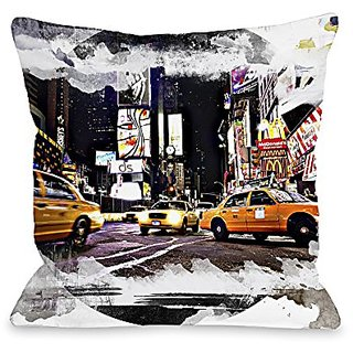 Bentin Home Decor Time Square Cabs Pillow with Zipper, 14 by 20-Inch, Multi Color