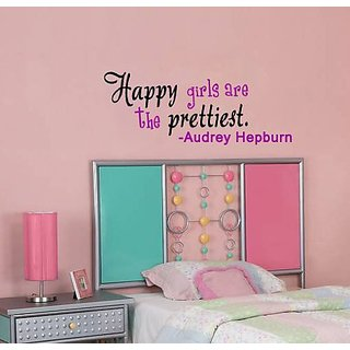 Happy Girls Are Prettiest Audrey Hepburn Quote Vinyl Wall Decal Inspiring Girly Home Dcor Welcome Housewarming Wedding A