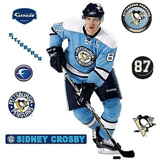 NHL Sidney Crosby Blue Retro Jersey Pittsburgh Penguins Wall Decal