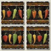 Coaster Set - Cantina Tumbled Stone Coasters - Set Of Four - Hot Pepper Coasters