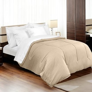 MADE IN THE USA 310TC 100% Cotton Medici Dobby Stripe Down Alternative Comforter, King, Taupe By Veratex