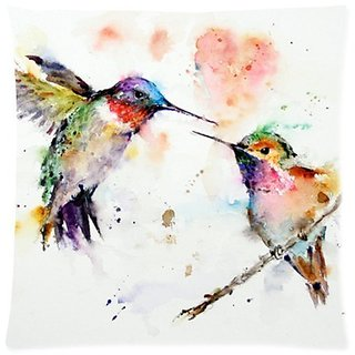 Beautfuldecor Home Decoration A Pairs Of Birds Frolicking Pillowcase18X18 Inch Throw Cushion Cover