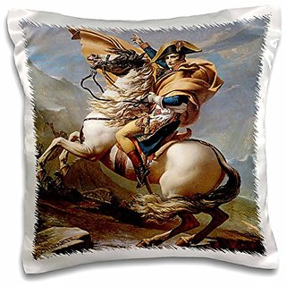 3dRose Napolean Crossing the Alps by Jacques-Louis David - Pillow Case, 16 by 16-inch (pc_129790_1)