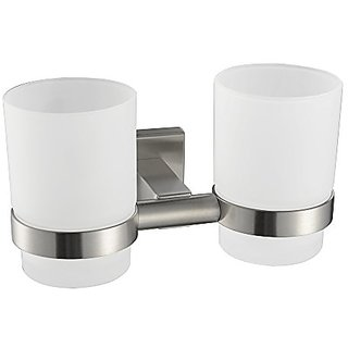 Angle Simple GB7907 Wall-mounted Double Toothbrush Holder, Brushed Steel