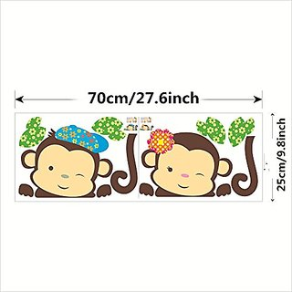 Cartoon Monkey Wall Stickers DIY Mural Art Decal Self Adhesive Removable PVC Wall Paper Decor,9.8