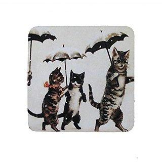 Golden Hill Studio Cats with Umbrellas Coaster (Set of 8), Multicolored