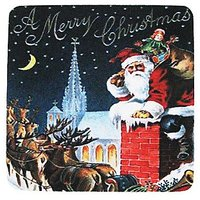 Golden Hill Studio A Merry Christmas Coaster (Set Of 8), Multicolored