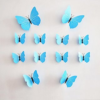 12 PCS 3D Blue Butterfly Stickers DIY Mural Art Decal Wall Stickers Crafts Wall Paper Decor