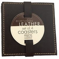 Twos Company Brown Leather Coasters - Set Of 4