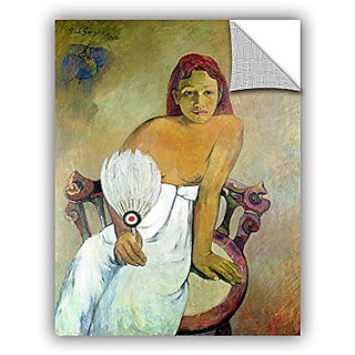 ArtWall Paul Gauguins Girl with Fan Art Appeelz Removable Graphic Wall Art, 24 x 32