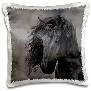 3dRose pc_172942_1 A black Frisian Horse Portrait In a Cloudy Sky-Pillow Case, 16 by 16