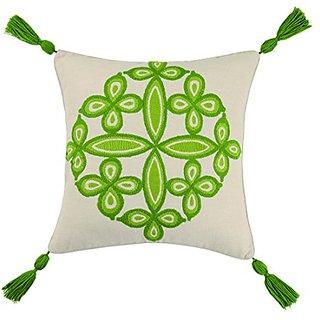 Trina Turk Desert Medallion Tassel Fringe Embroidered pillow, 20x20 Inch , Green