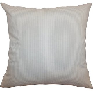 The Pillow Collection Quenilda Ticking Pillow, Tan