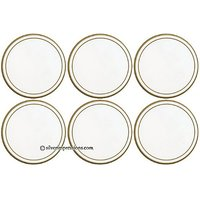 Lady Clare White/Gold Line ROUND Coasters - Set Of 6