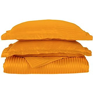 1500 Series 100% Brushed Microfiber 3-piece Full/Queen Duvet Cover Set Stripe, Orange - Super Soft and Wrinkle Resistant