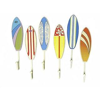 6 Wood Surfboard Towel Hooks