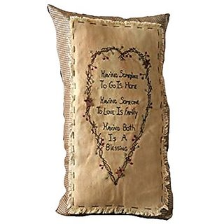 Your Hearts Delight Having Someplace Stitchery Decorative Pillow, 10 by 18-Inch