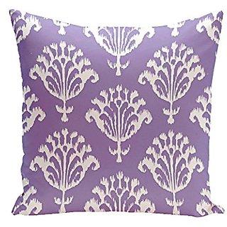 E By Design CPG-N16C-Heather_Purple-16 Floral Motifs Decorative Pillow, 16-Inch, Heather Purple