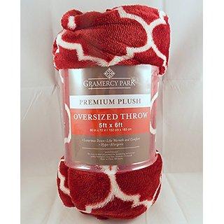 Gramercy Park Plush Throw Blanket Red Moroccan Trellis 60