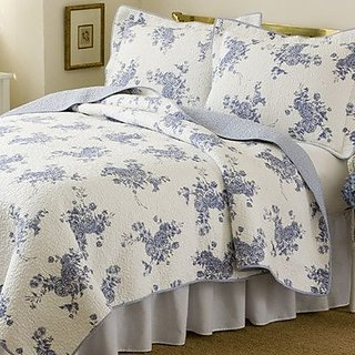 Melissa Blue Collection,3-Piece Cotton Quilt, King, Multi-Colored Floral