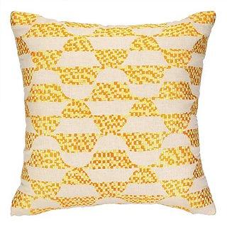 Trina Turk Residential Linen Embroidered Pillow, Ventura, Yellow