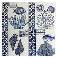 American Atelier Seashore Coasters With Caddy (Set Of 4), Blue