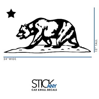 California Republic Bear (White) and Star Car, Window or Wall Decal Sticker Safe for All Surfaces 6 Year Guarantee Made