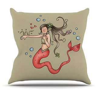 Kess InHouse Carina Povarchik Mermaids Lovely Throw Pillow, 16 by 16-Inch