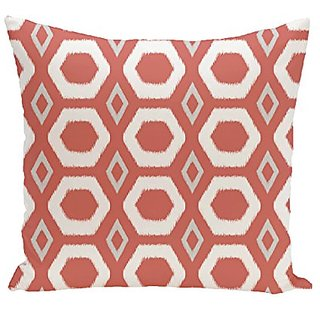 E By Design More Hugs and Kisses Geometric Print Outdoor Pillow, 18-Inch, Seed