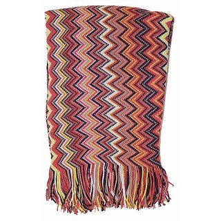 At Home Vintage Chevron Throw Blanket, Big Squiggle, Orange