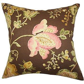 The Pillow Collection P20-MVT-1281-FLORAL_TOAST-C100 Kelila Floral Pillow, Brown, 20